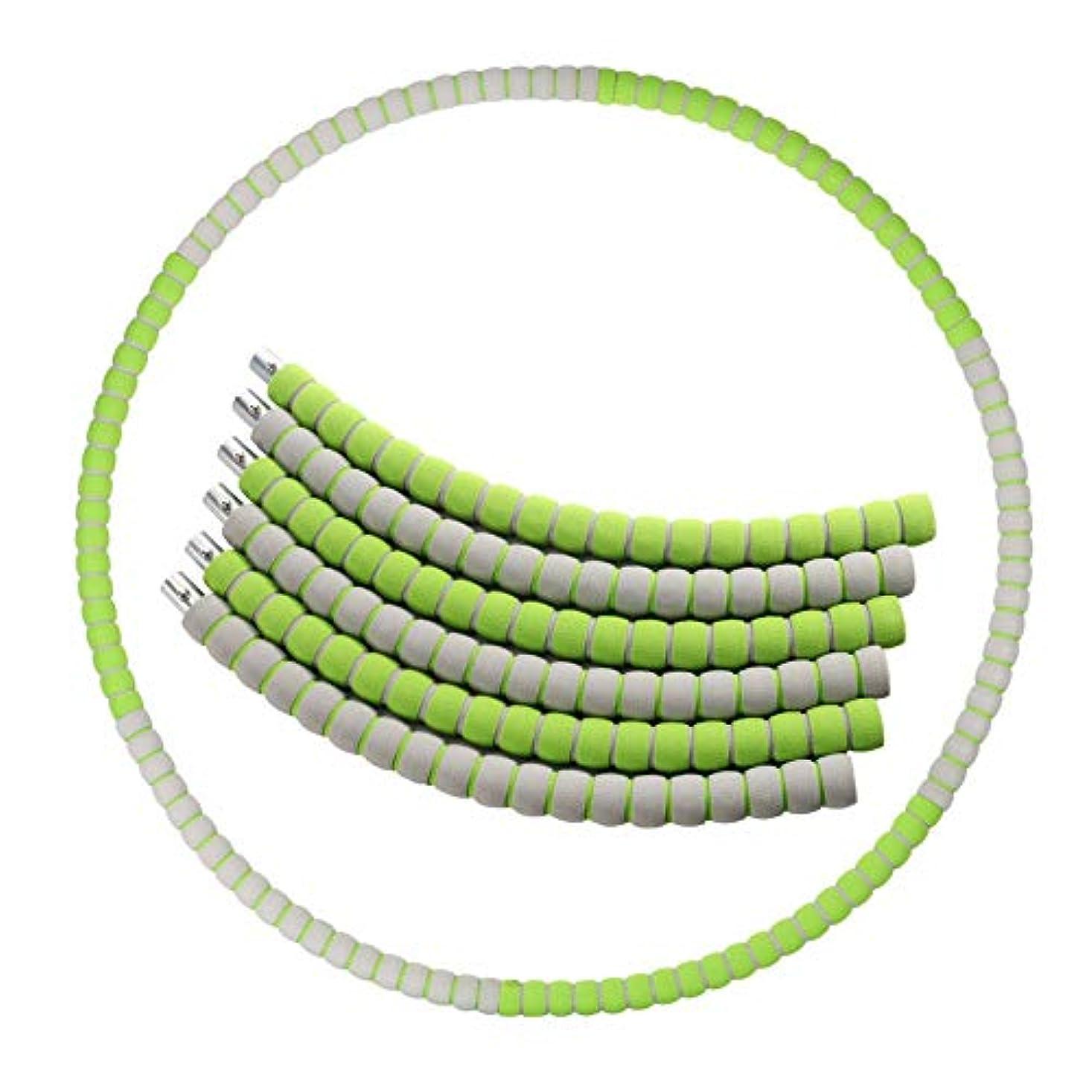 言い訳フリンジ公演6節フラフープフィットネス取り外し可能な82センチメートルフォームパッド入りは大人と青少年のために、自由に簡単なクイックコンパクトを増加させることができます。 (Color : Green)