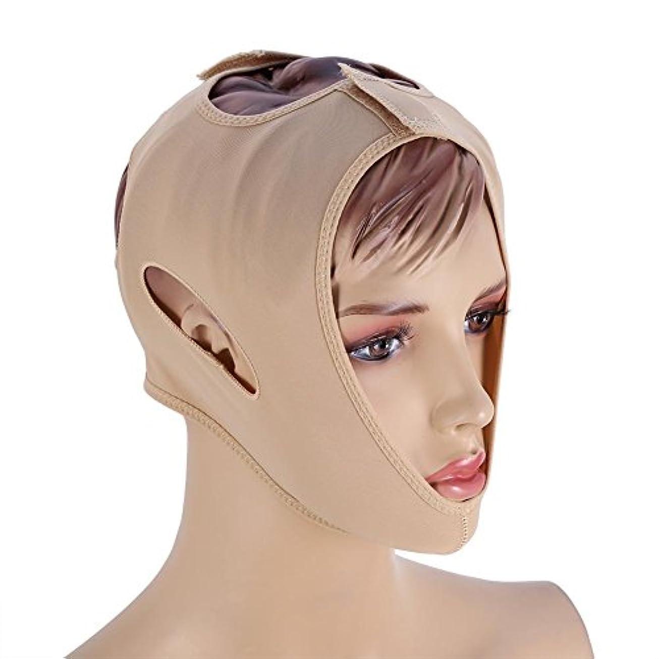 成功する苗議題フェイスベルト 額、顎下、頬リフトアップ 小顔 美顔 頬のたるみ 引き上げマスク便利 伸縮性 繊維 (L码)