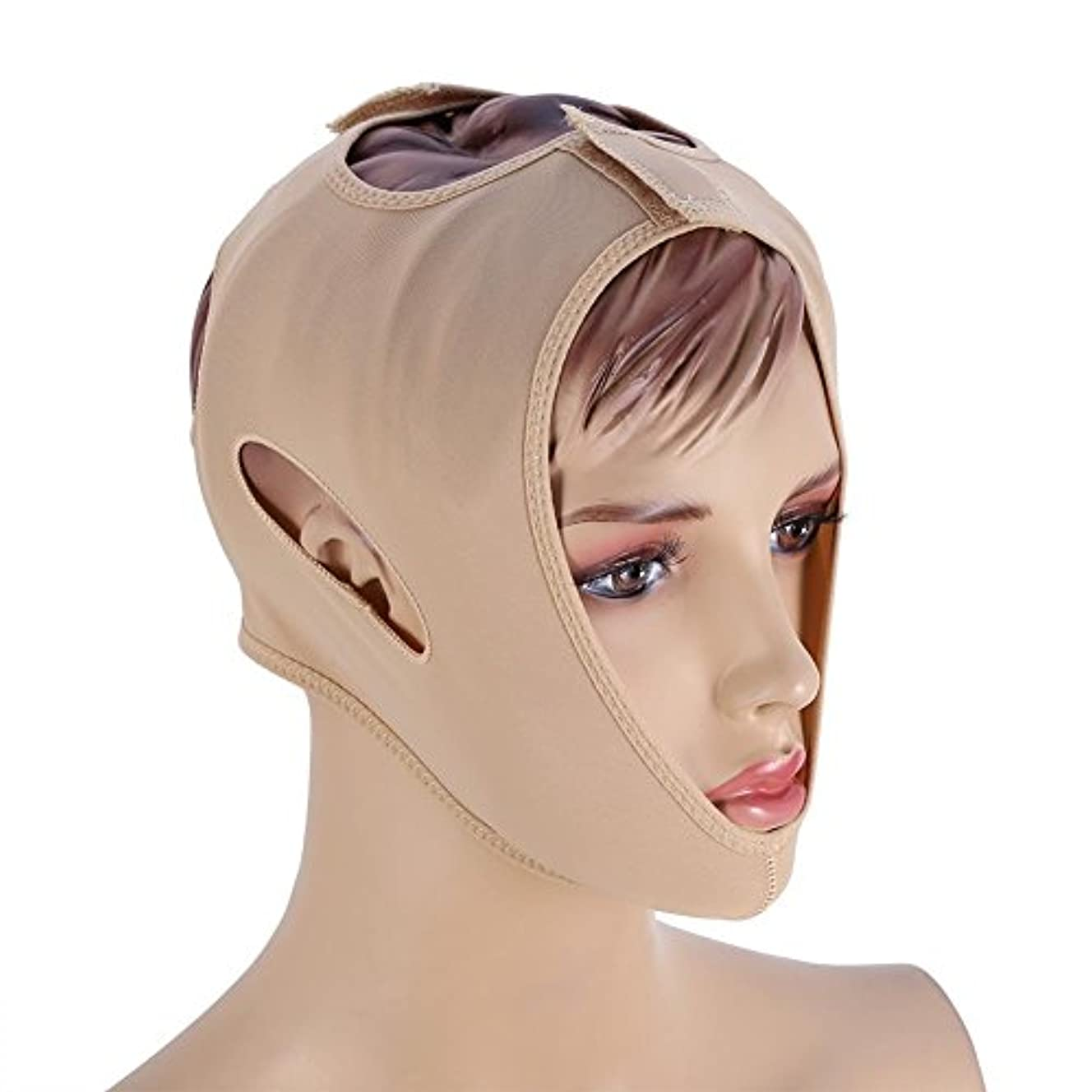 贅沢キリン砲撃フェイスベルト 額、顎下、頬リフトアップ 小顔 美顔 頬のたるみ 引き上げマスク便利 伸縮性 繊維 (L码)