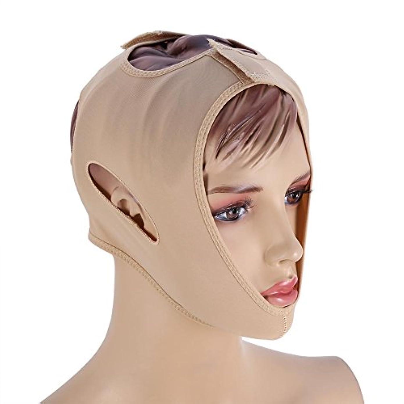 フェイスベルト 額、顎下、頬リフトアップ 小顔 美顔 頬のたるみ 引き上げマスク便利 伸縮性 繊維 (L码)