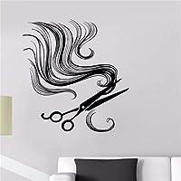 Mingld ビニール壁デカールはさみ理髪ツールヘアーサロンシンプルアート現代インターイロ店装飾ステッカー42×50センチ