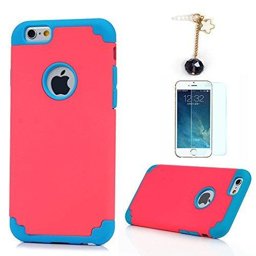 『iPhone6/iPhone6S(4.7インチ)用ケース PC&シリコン構造 防塵/耐衝撃 脱着簡単 二重Vivagaga 保護キャップ 対応 ハードケース スマホカバー ローズ色&ブルー』のトップ画像