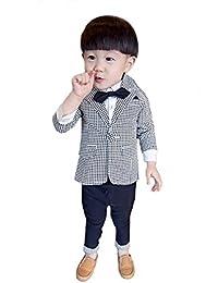 エーアイドット 千鳥柄 男の子 フォーマル リボン付 シャツ コート ズボン ベビー キッズ タキシード風