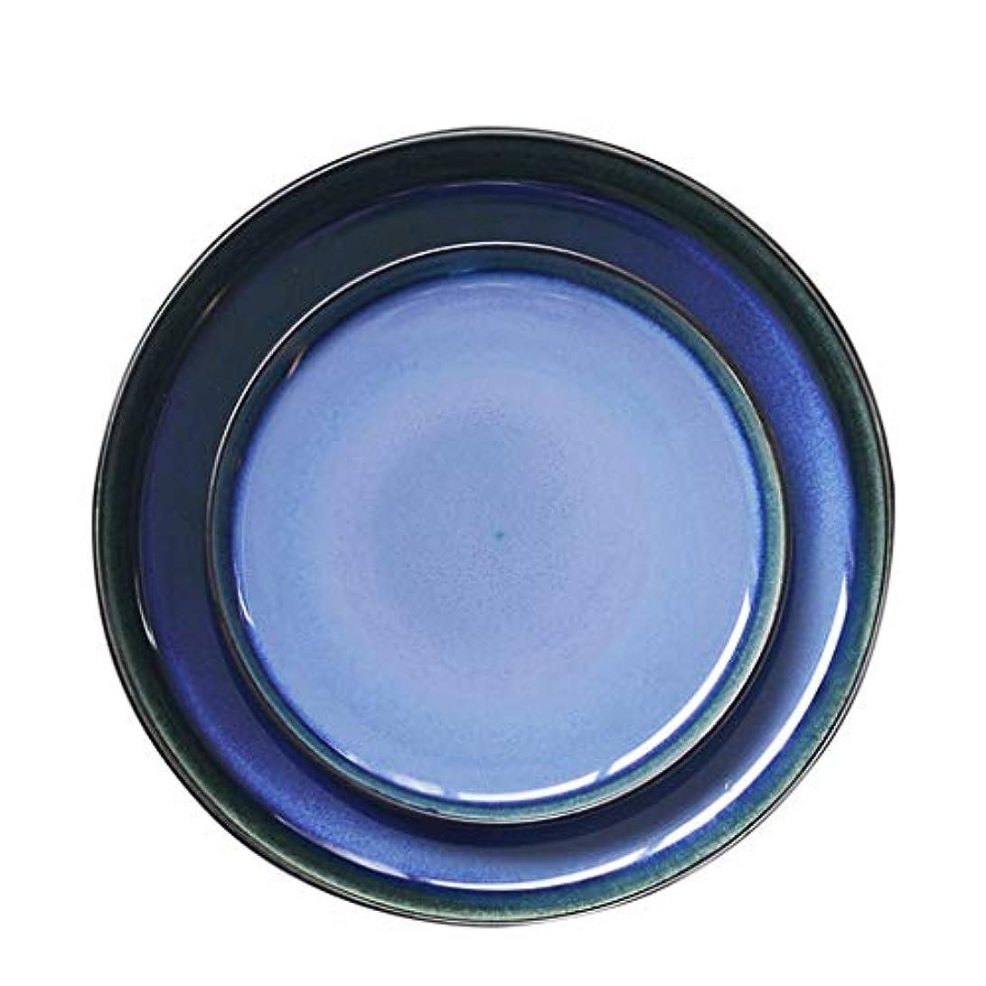 に慣れ縞模様の嬉しいですヨーロピアンスタイルのレストランで高品位セラミックプレートステーキプレート西プレートホーム朝食トレイステーキ皿のキッチンカトラリートレイ (Color : PURPLE, Size : 19CM)