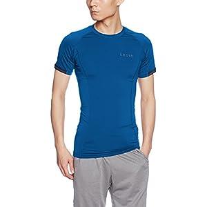 MUB13-PBL_L (テスラ) TESLA 半袖 ラウンドネック スポーツシャツ [UVカット・吸汗速乾] コンプレッションウェア パワーストレッチ アンダーウェア