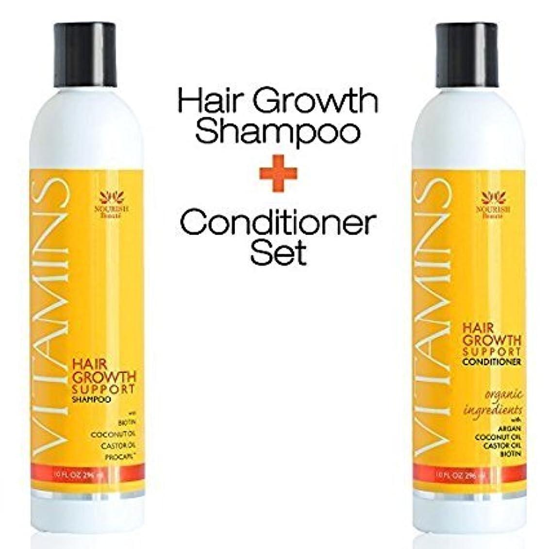 快適むさぼり食うタックルVitamins Biotin Shampoo & Vitamins Hair Growth Conditioner オーガニック 育毛シャンプー & コンディショナー (並行輸入品)