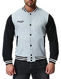 Sodossny-JP メンズファッションボタンフロントスリムフィット暖かいトレーナー野球のバーシティジャケット