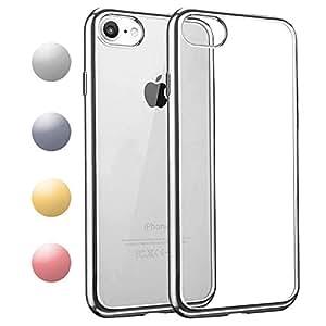 iPhone7 / iPhone8 ケース TPU 【COOLOO】透明 ソフト クリア メッキ加工 耐衝撃 最軽量 超薄型 一体型 人気 オシャレ 4.7インチ アイフォン 7 用 (シルバー)