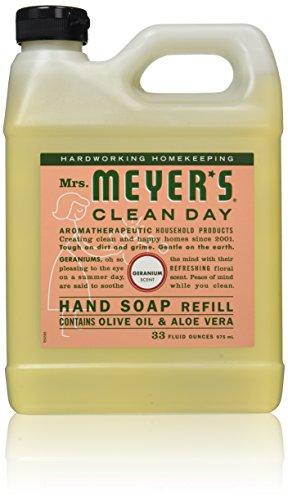 Mrs. Meyers Clean Day, Liquid Hand Soap Refill, Geranium Scent, 33 fl oz (975 ml)