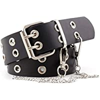 Double-Grommet-Belt Leather Punk-Waist-Belt with Chain for Women Jeans Dresses