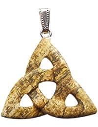 [yuteng] ピクチャー ジャスパー トライアングル形 天然石 パワーストーン ペンダント ビーズ ネックレス