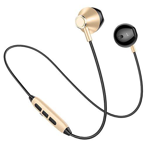 Picun H2 Bluetooth イヤホン 高音質 スマホ二台接続支持 IPX4防水防汗 ノイズキャンセリング マグネット搭載 イヤフォン リモコン マイク付き ハンズフリー通話 ブルートゥース イヤホン Bluetooth4.1 ワイヤレス イヤホン iPhone Android対応 (ブラックゴールド)
