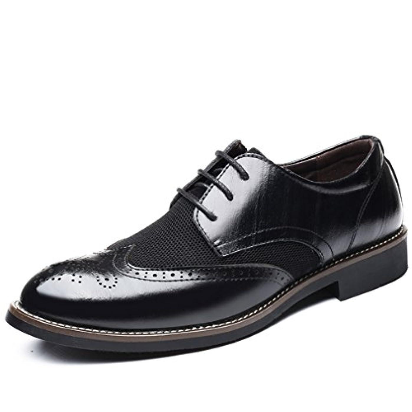 協定労働私たちWEWIN ビジネスシューズ メンズ 本革 夏 メッシュ 革靴 レースアップ ウイングチップ サンダル カジュアルシューズ 快適 通気 蒸れない