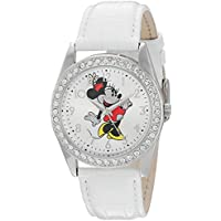 Disney Minnie Mouse Women's Silver Alloy Glitz Watch, White Leather Strap, W002764