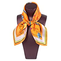 LilyAngel スクエアスカーフレディースプリントピンクの柔らかい快適なスカーフシルクショール (Color : 4, サイズ : 52x52CM)