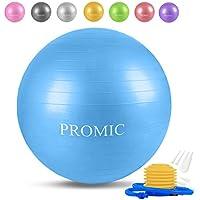 PROMIC バランスボール 45/55/65/75/85cm 8色 プロフェッショナルグレード フットポンプ付き アンチバースト ヨガボール エクササイズボール