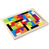 Siyushop テトリス 木製パズル - 木製タングラムパズル テトリスパズルおもちゃ パズルゲーム (40ピース)