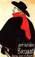 Henri de Toulouse-Lautrec - 彼のキャバレーでアリスティド・ブリュアン Aristide Bruant in his cabaret 油彩 キャンバス 木枠なし 35X60 cm - ポスター 絵画 複製画 印刷 美術品 壁掛け