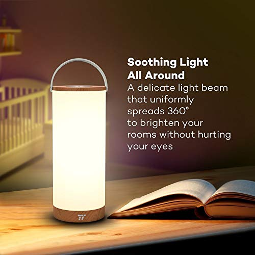 TaoTronics Rechargeable Touch Sensor Bedside Lamp, LED Table Lamps for Bedroom with Internal Battery up to 110 Hours Operation, 3000-3500K Color Temperature