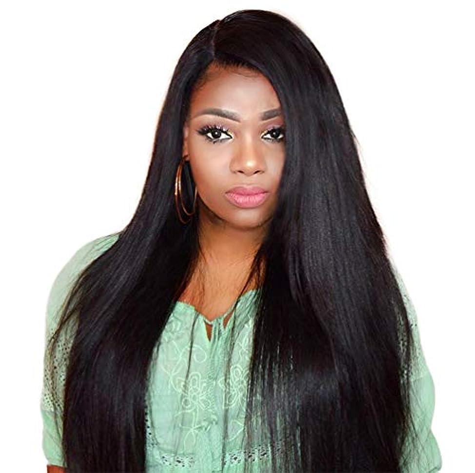 罰メーター寮かつら未処理のバージン毛ブラジルのremy人間の髪の毛のストレートヘアレースかつらアフリカ系アメリカ人のためのかつら150%密度黒26インチ