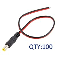TOTOT 100 Pack Male 2.1*5.5mm DC Power Pigtail Plug Adapter Tail Extension Cable [並行輸入品]