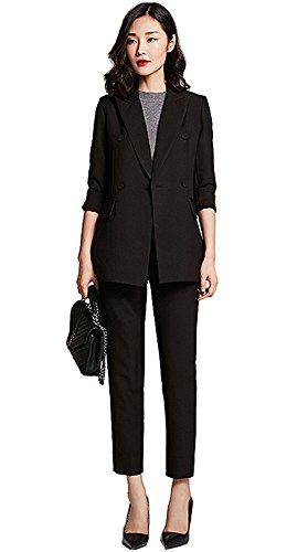 [해외]바지 정장 여성 설치 취업 정장 여성 정장 바지 결혼식 사무실 큰 사이즈 정장 세트 슈트 테라 디 (L)/Pants suit Womens setup Job Suit Suits Women`s Suit Pants Wedding Office Large Size Formal Set Suit Tailored Ji (L)