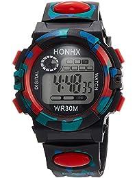 [フォンエックス]HONHX デジタル腕時計 子供用カモフラ迷彩柄 レッド CMH022 ボーイズ 【並行輸入品】