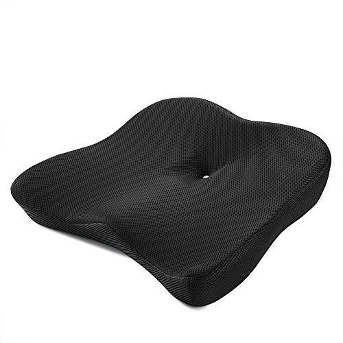 ADICCO 第五世代 ヘルスケア座布団 低反発クッション 健康クッション 座り心地抜群 骨盤サポート 体圧分散 腰楽 椅子 自宅 オフィス 車 高通気 カバー洗える ブラック