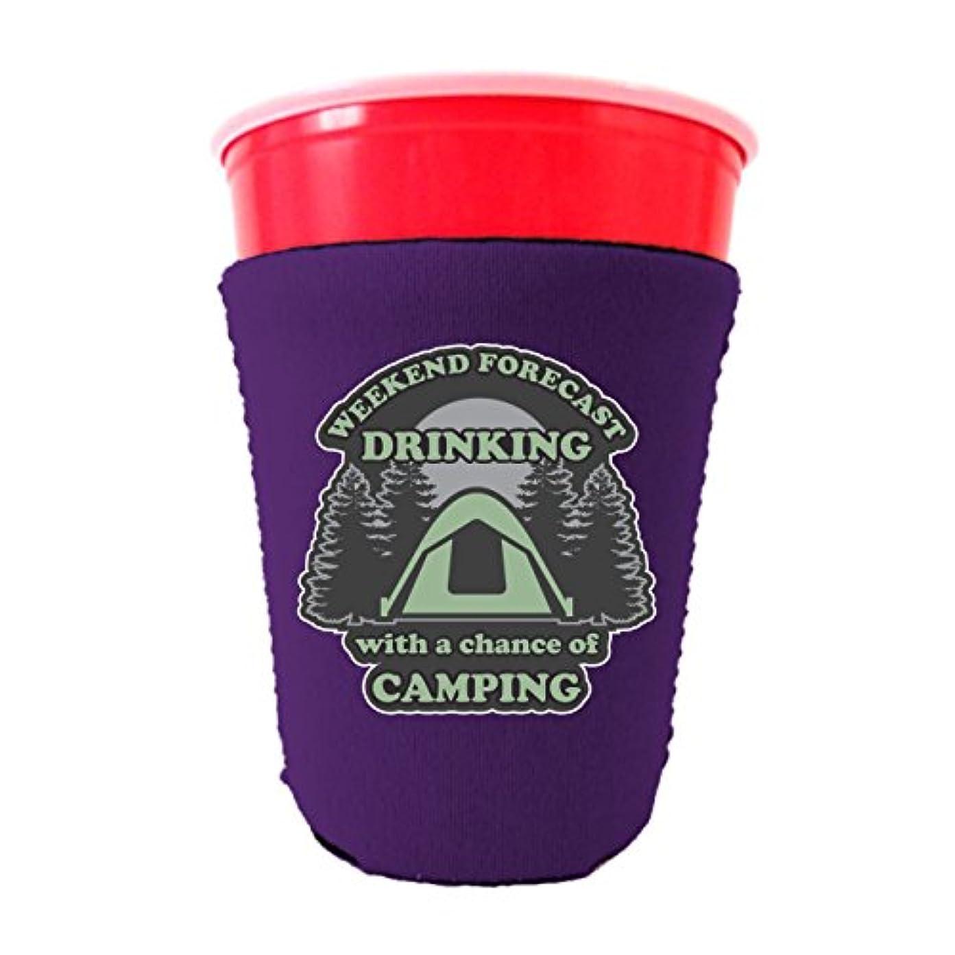 安全性カブ比べる週末予測Drinking with a Chance ofキャンプネオプレンCollapsibleソロカップクーリー 16-18 oz. Party Cup パープル WeekendForecastSoloPurple