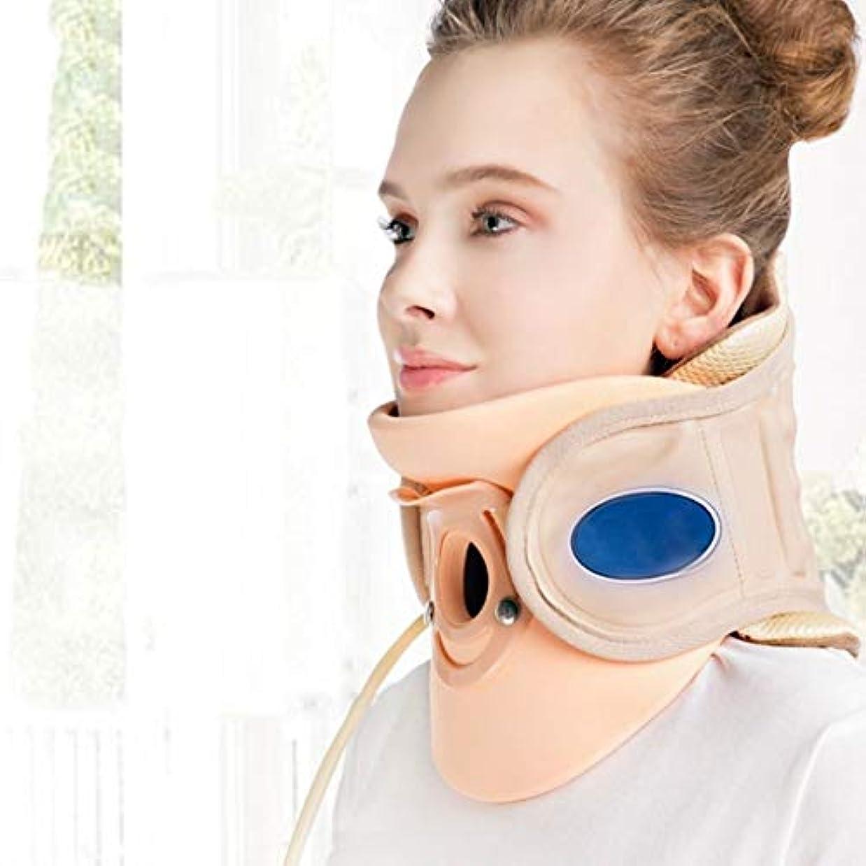 頸椎牽引装置 頸椎牽引装置ホームストレッチインフレータブル頸椎矯正首サポート固定首ベルト牽引装置成人軽量 (Color : Yellow, Size : 22*18.5*17cm)