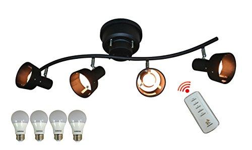 KUSHIMAX 『Petunial』 ceiling lamp ウッドシェード 4灯シーリングライト シングルシェードタイプ スポットライト 4段階切り替えリモコン付き 壁電源で簡単切り替え (ブラック×ブラック 本体+LED電球)