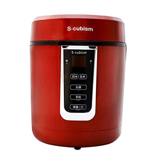 炊飯器 0.5~1.5合 小型 ミニ炊飯器 レッド 便利な取っ手付き [ひとり暮らし用] おしゃれ ...