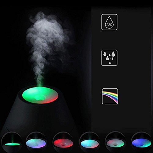 Liebeye USB加湿器 ホームオフィス 車装飾 充電 火山の夜の光 ピンク