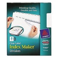 インデックスメーカークリアラベルディバイダー、8-tab、手紙、ホワイト、5セット–ave11437