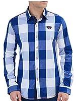 maweisong メンズレギュラーフィットクラシックチェック柄ロングスリーブボタンダウンシャツ Blue 3XL