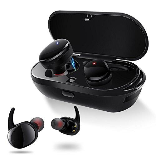 完全ワイヤレス スポーツイヤホン IPX5防水 片耳 両耳とも対応 左右独立型 Bluetooth イヤホン マイク内蔵 ハンズフリー通話 小型 軽量 iPhone Android 対応 防汗防滴 Meilunz NB7 (ブラック)