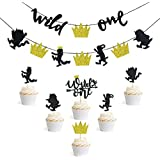Where the Wild Things are Inspired Party Supplies ワイルドワン バナー ケーキトッパー付き 子供の誕生日パーティーデコレーション