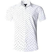 NUTEXROL Men's Star Print Casual Shirt Short Sleeve Cotton Shirts Black(star)
