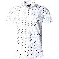 NUTEXROL Men's Star Print Casual Shirt Short Sleeve Cotton Shirts Black(star)