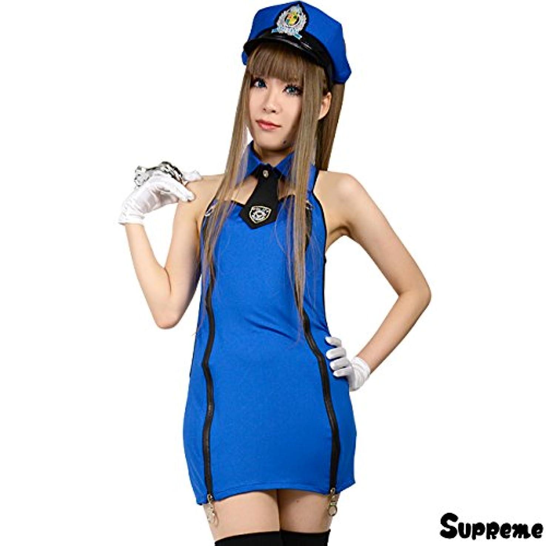 ラベル真夜中特権的コスプレ 衣装 ミニスカ ポリス 婦人警官 ブルー ワンピース ハロウィン レディースサイズ