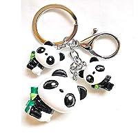 Fukuka キーホルダーパンダ パンダキーリング キーチェーン 中国パンダ 可愛いアニマル バッグペンダント ギフト パンダキーリング メタル3匹パンダフック付 ((竹抱くパンダ)