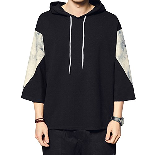 YFFUSHI tシャツ スウェットパーカー S-4XL ゆったり 男女兼用 七分袖 薄手 全9柄 黒 白 フィード付き 切り替え お洒落 カジュアル 大きいサイズ トレーナー