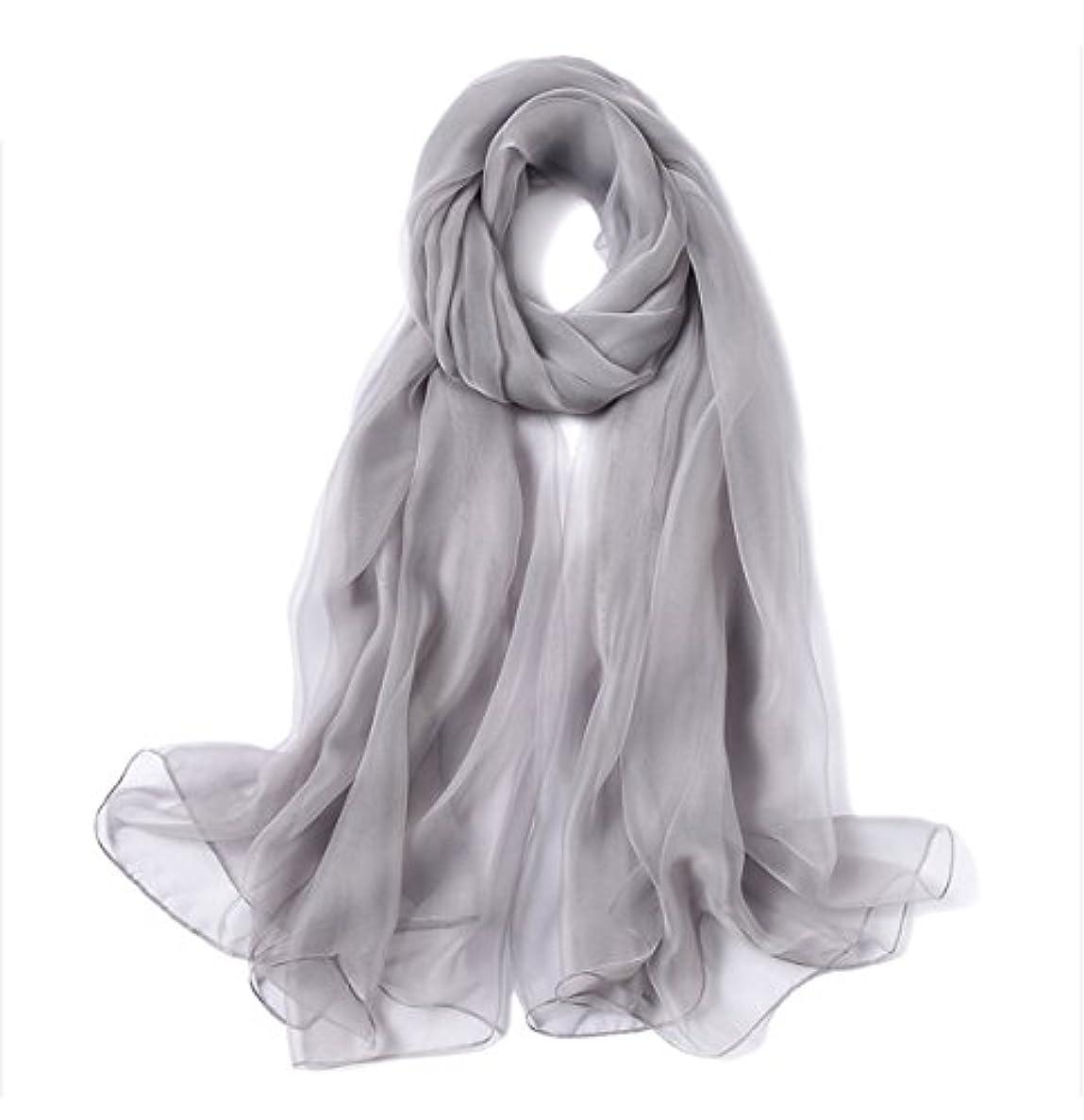 上がるパフ不快な女性の贈り物新しいレトロかわいいカジュアルシフォンビーチ旅行長方形ソリッドカラースカーフスカーフさんギフト ( Color : Gray )