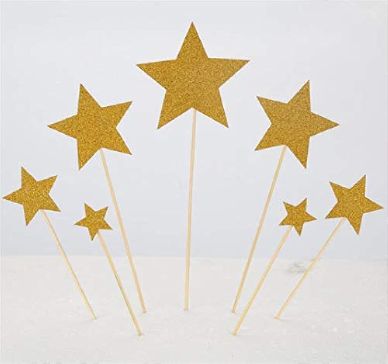 完璧な装飾 キラキラ五芒星のデザートケーキプラグインパーティケーキの装飾(金)