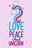 Love Peace And Unicorn: Unicorn Primary Composition Notebook,Unicorn Handwriting Practice Paper ABC Kids,Notebook with Dotted Lined Sheets for kindergarten Students