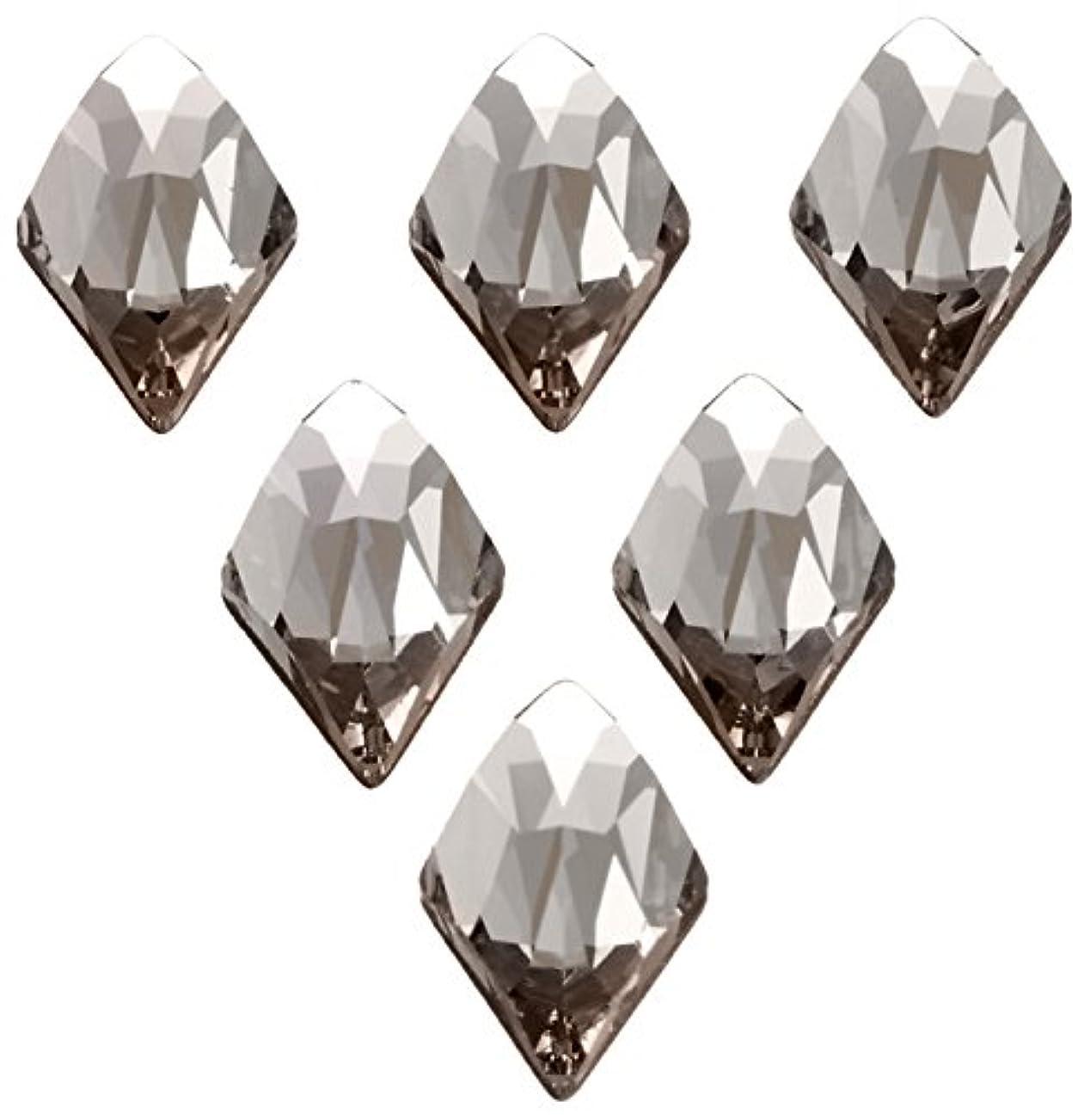 十二操作可能オーナメントネイルアートパーツ ランバスカット ブラックダイヤモンド 6.0×10.0mm 6P