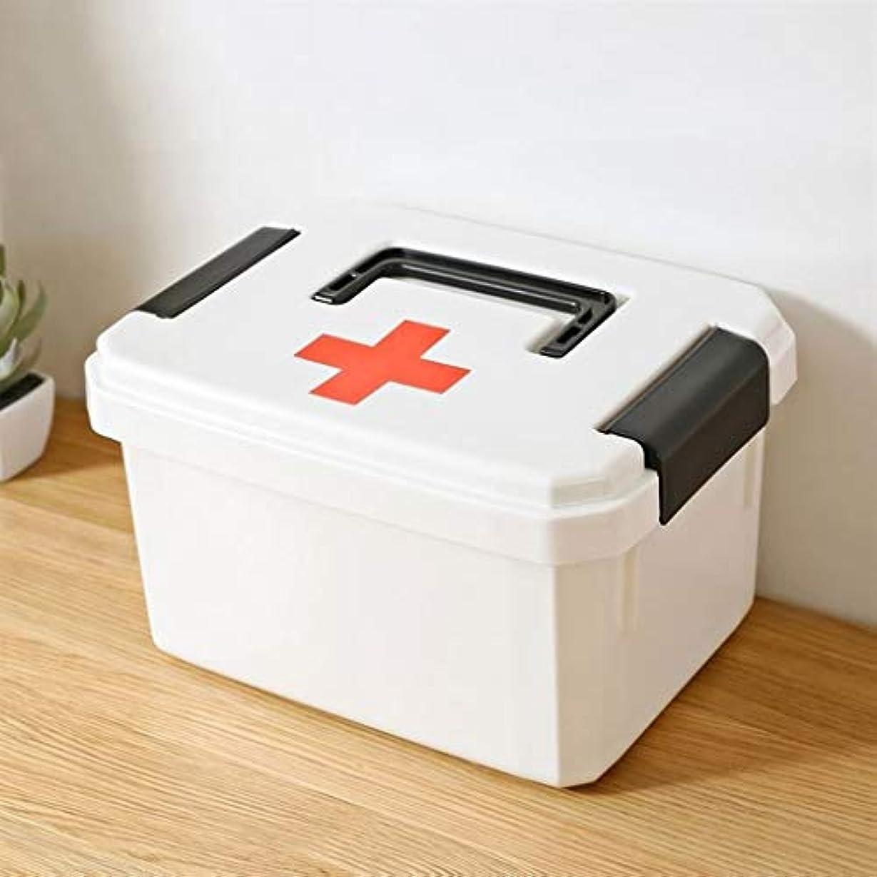 ヒロイン休みソケット薬箱多機能大容量ポータブル家庭用薬収納ボックス両面ロック29×22×17.5cmホワイト SYFO