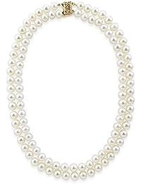14 Kゴールドダブルストランド6.0 – 6.5 MM海水アコヤ養殖真珠ネックレスAAA品質18インチ