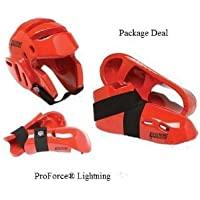Lightning Red Karate Sparring Gear Package Deal - Child Large