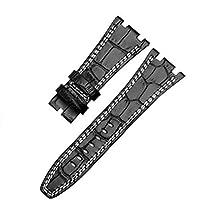 時計バンド 腕時計ベルト 28mm ブラックレッド レザー オーデマピゲ + 尾錠 (ブラック(白糸))